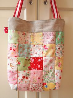 Handmade Patchwork Tote Bag Medium Tote Bag Cotton por sewsewnsew
