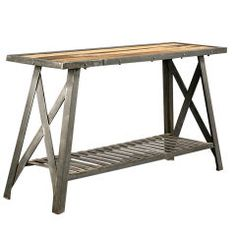 Industrial Steel and Wood Console Table with Banded Top