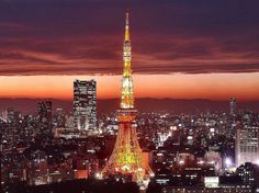 The Tokyo Tower lights up the sky in Japan.  http://www.pinterestpatron.com/2012/05/pinterest-trends-0531-anything-outdoors/