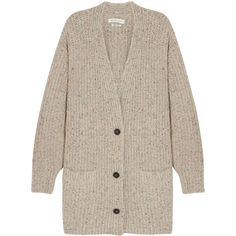 Étoile Isabel Marant Hamilton oversized knitted cardigan (£192) ❤ liked on Polyvore featuring tops, cardigans, outerwear, sweaters, jackets, slouchy tops, low v neck tops, oversized cardigan, multi color cardigan and multi color tops