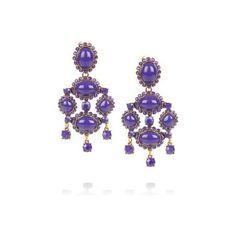 Oscar de la Renta 24-karat gold-plated cabochon clip earrings