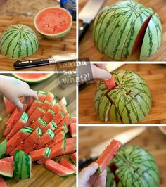{Cooking Tips} Brilliant way to cut watermelon... Just slice a half watermelon horizontally and vertically to get perfect watermelon pieces. How simple it is!!! #TickledMummyClub #CookingTips