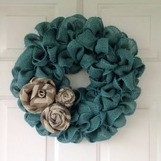 Spring teal burlap wreath with gray and white chevron burlap roses