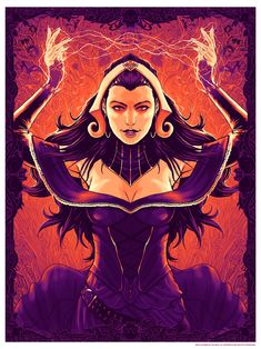Liliana Vess poster print for Magic the Gathering group art show at Gallery Magic The Gathering Planeswalker, Mtg Art, Dungeons And Dragons Characters, Conan The Barbarian, Magic The Gathering Cards, Character Portraits, Cool Artwork, The Magicians, Art Sketches