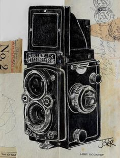 ARTFINDER: old school by Loui Jover - I enjoy drawing vintage camera's, the Rolleiflex was the first old skool camera I was taught to take photo's with,as a young man I was a military photographe...