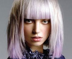 great treatment with lavender and platinum...bangs...a wee bit harsh but the texture on the sides is hot.