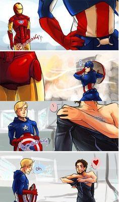 Steve and Tony Marvel Jokes, Marvel Funny, Marvel Dc Comics, Stony Avengers, Marvel Avengers, Spideypool, Iron Man Capitan America, Stony Superfamily, Steve And Tony
