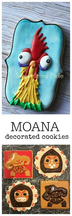 Moana Maui Hei Hei decorated Sugar Cookie inspiration - site with royal icing recipe and cookie ideas
