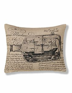 Natural Mix Printed Ship in a Bottle Linen Cushion