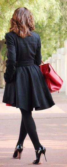 Skater Black Coat  #Winter Urban Chic Fashion Women Streetstyle #Rib Over The Knee Socks #Skater Black Coat
