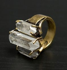 Chunky organic quartz crystals in antique ring