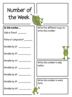 Here's a two page frog-themed form for the number of the week.