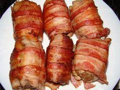 Baconba sült töltött csirkecomb :: Ami a konyhámból kikerül Sausage, Bacon, Pork, Kale Stir Fry, Sausages, Pork Chops, Pork Belly, Chinese Sausage