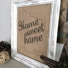 Home Sweet Home - Burlap Art Print - Vintage Farmhouse Shabby Chic - Housewarming - Wedding Gift