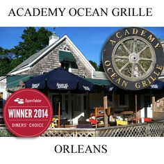 Academy Ocean Grille in Orleans. Located right off Route 28 in Orleans, the Grille offers a menu of eclectic global dishes with a touch of Cape Cod. The dining room offers a casual elegance; Junior's Bar is perfect for a light bite or a cocktail before dinner. Additional seating is available seasonally on the breezy patio.
