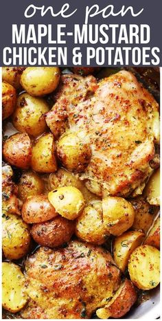 One Pan Maple Mustard Chicken and Potatoes – Easy and absolutely amazing one pan dinner with chicken thighs and potatoes cooked in a delicious maple syrup and mustard dressing. Recipes With Chicken And Potatoes, Healthy Chicken Thigh Recipes, Baked Chicken Recipes, Meat Recipes, Recipies, Cooking Recipes, Healthy Recipes, Mashed Potato Meals, Chicken Potato Bake