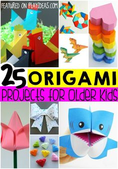 25 Easy Origami Ideas for Bigger Kids. Give your big kids a taste of origami fun with these great crafts! Click now! Origami Ideas, Easy Oragami For Kids, Origami Bow, Origami Paper, Diy For Kids, Older Kids Crafts, Crafty Kids, Big Kids, Craft Activities For Kids