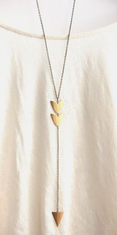 Long Arrow Brass Pendant Necklace