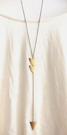 Long Arrow Brass Pendant Necklace