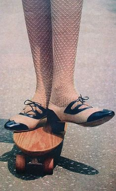 Christian Dior, 1966. stockings. fishnets. tights. wooden skateboard. cute shoes. vintage.