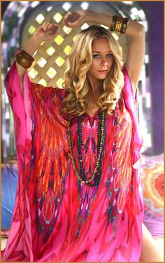 Feathers kaftan available in long or mini length in satin silk. http://www.colinheaney.com/art-of-luxury/kaftans/full-length/feathers-kaftan.html