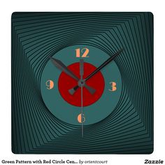 Green Pattern with Red Circle Centre> Wall Clock