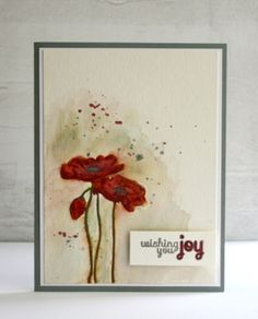 'Painted' Watercolor Cards.  Stamp with a light, water-soluble ink, then paint with watercolors, wc crayons, or ink.