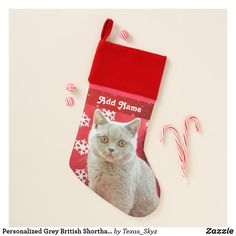 Personalized Grey British Shorthair Cat Christmas Stocking Christmas Animals, Christmas Cats, Pet Christmas Stockings, Santa Claus Is Coming To Town, British Shorthair, Christmas Card Holders, Great Gifts, Pets, Holiday Decor