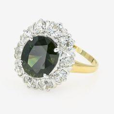 6c8cd0d11 1stdibs - 4.75Cts. Oval Cut & Ring 14Kt White & Retro Diamond,green  Sapphire 14K Gold