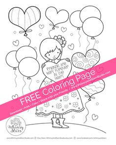 """FREE COLORING SHEET! """"Friends are Kept Forever in the Heart""""You can download and print this FREE Coloring Page through February 14, 2016. Please feel free to share it with your friends and family. This coloring sheet is for personal use only, not for sale.   Copyright © 2016 Whimsy and Stars Studio & Mabelle R.O: All Rights Reserved.   #freecoloringsheet #coloring #coloringbook #adultcoloring #coloringsheet #whimsyandstars"""