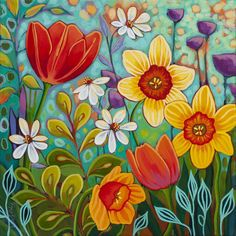 Peggy Davis - Spring Fiesta I Spring Painting, Spring Art, Painting Art, Art Floral, Rock Flowers, Paint Flowers, Art Fantaisiste, Garden Mural, Acrylic Painting Techniques