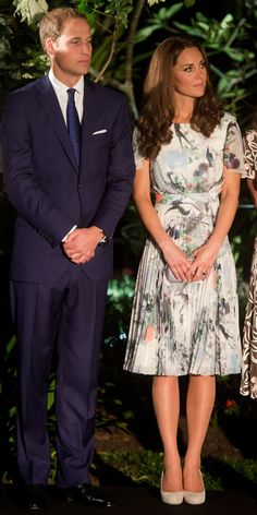 SEPTEMBER 12, 2012 Catherine attended dinner at the British High Commissioner's House in Singapore wearing a pleated Erdem design with a whimsical print.