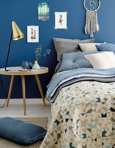 Knitting yarn cotton tubemix medium blue - Stoff & Stil - DIY bedroom