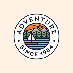 Adventure Circle Badge Logo - Mountain Lake Sun And Forest Illustration Template Free, Logo Template, Forest Illustration, Graphic Design Illustration, Type Logo, Circle Logos, Circle Logo Design, Best Logo Design, Outdoor Logos