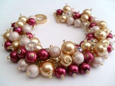 Wine Red and Gold Pearl Beaded Bracelet Cluster by KIMMSMITH, $19.00