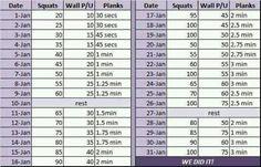 Squats, wall pushups and planks