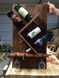 Double Bottle Wine Rack with 4 glasses