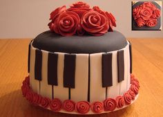 This is my first time covering a cake with fondant and making any type of fondant roses.  The roses on top of the cake were time consuming, but fun to make!  6-inch strawberry cake covered in BC icing and fondant.  I made this cake for my younger sister's birthday because she is an amazing pianist!  This was #4 of 4 cakes I made for a combined family birthday party.  I definitely need practice getting the fondant smooth on the cake.  I was happy I was covering most of it up with the keys!