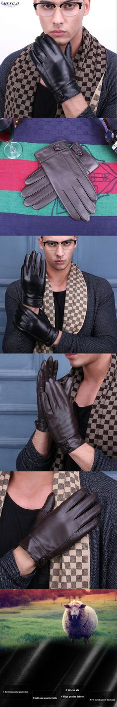 The new 2017 men's leather gloves in winter warm warm sheepskin gloves and hair thickening high quality men driving gloves