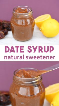 Date Syrup Natural Sweetener - recipe for date syrup that is cheap, healthy and full of good stuff. Date syrup uses are any recipes that call for no refined sugar and cakes. Benefits of date syrup are it contains fibre, inexpensive to make, high in a Vegan Sweets, Healthy Sweets, Vegan Desserts, Raw Food Recipes, Healthy Snacks, Vegetarian Recipes, Healthy Eating, Cooking Recipes, Healthy Recipes