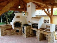 Cob and masonry outdoor kitchen