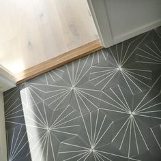 Dandelion tiles hallway Hall Tiles, Tiled Hallway, Beach Bathrooms, Bathroom Kids, Family Bathroom, Geometric Tiles, Hexagon Tiles, Hall Flooring, Concrete Patio