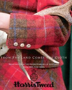 Harris Tweed cloth from the Isle of Harris, Outer Hebrides, Scotland. The best in the world once you buy Harris Tweed you will never buy any other cloth. Mode Tartan, Tartan Kilt, Harris Tweed, Tweed Run, Tweed Jacket, Scottish Fashion, Irish Fashion, Outer Hebrides, Scottish Tartans