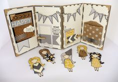 Sarah Hurley 'Dream a Little Dream' Doodle Doll sets. Recycled kraft packaging using papers from AFOMFT kits.