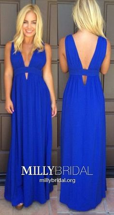 Royal Blue Prom Dresses Long,Sexy Prom Dresses V-neck,Simple Prom Dresses with Ruffles,Chiffon Prom Dresses Ankle-length
