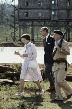 November 1983. Kenya. Queen Elizabeth and Prince Philip in the grounds of the Treetops hotel in Aberdare National Park during a four-day state visit to Kenya.