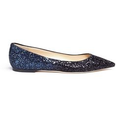 Jimmy Choo 'Romy' dégradé coarse glitter skimmer flats ($620) ❤ liked on Polyvore featuring shoes, flats, blue, blue flats, pointy-toe flats, glitter flats, ballet pumps and ballet flat shoes