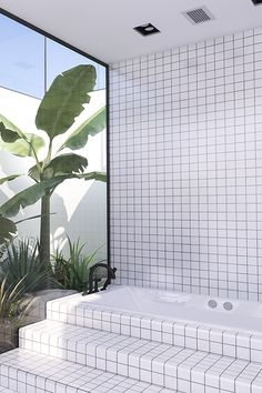 Contemporary minimalistic bathroom design, urban bathroom design, atrium with tropical plants, bathroom with atrium Bathroom Luxury, Bathroom Interior Design, Home Interior, Interior And Exterior, Modern Interior, Unusual Bathrooms, Contemporary Bathrooms, Contemporary Decor, Gray Bathrooms