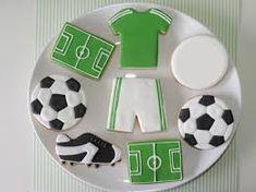 Imagen relacionada Soccer Cookies, Soccer Cake, Star Cookies, Cute Cookies, Holiday Cookies, Football Cakes, Soccer Birthday Parties, Football Birthday, Soccer Party