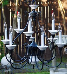 Excited to share the latest addition to my #etsy shop: Vintage 9 Arm Black and White Chandelier, White Ceramic Bobeches and Center Pieces, Tall Candle Covers & Lights, Painted Black, 1970's http://etsy.me/2C2akOX #housewares #lighting #black #metal #bohemianeclectic #p